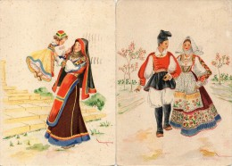Sardegna-nuoro-aritzo-sassari-sennori-costumi Sardi (2 Cartoline Viaggiate 1943) - Italië