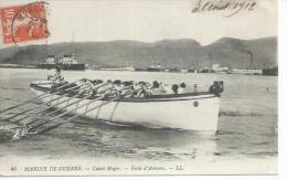 40 - MARINE DE GUERRE - CANOT MAJOR - ECOLE D'AVIRONS ( Animées -  BATEAU MARINE DE GUERRE ) - Warships