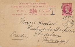 LEEWARD ISLANDS , ANTGUA - 1892 , Nach Radeberg - Antigua Und Barbuda (1981-...)