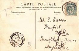 1905 Algeria Sidi-Okba Animated Street View Pc Used Biskra TPO Pmk To 5c Blanc, To UK - France (ex-colonies & Protectorats)