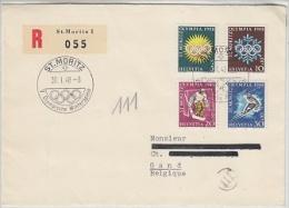 Switzerland 1948 Olympische Winterspiele St. Moritz R-letter To Gand Belgium (F3275) - Winter 1948: St. Moritz