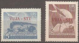 TRIESTE - 1949 UPU. Train, Plane. Scott 15, 16. MNH ** - Occ. Yougoslave: Trieste