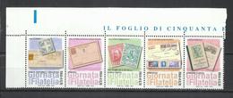 ITALIA REPUBBLICA ITALY REPUBLIC  2013 GIORNATA DELLA FILATELIA STAMP DAY SERIE COMPLETA IN STRISCIA SET STRIP MNH - 2011-...:  Nuevos