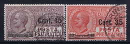 Italia: Posta Pneumatica Sa Nr 10 + 11 , Mi Nr 268 - 269 Used 1927 - Pneumatic Mail