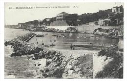 CPA - MARSEILLE, PROMENADE DE LA CORNICHE - Bouches Du Rhône 13 - Circulé 1918 - Tampon : Maison Des Officiers - Quatieri Sud, Mazarques, Bonneveine, Pointe Rouge, Calanques