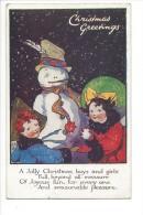 12411 -   Christmas Greetings A Jolly Christmas Boys And Girls Bonhomme De Neige Signée Dorothy Rees - Natale