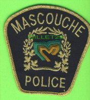 ÉCUSSON TISSU POLICE - PATCH POLICE - POLICE MASCOUCHE, QUÉBEC, CANADA - - Patches