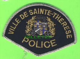 ÉCUSSON TISSU POLICE - PATCH POLICE - POLICE VILLE DE SAINT-THÉRÈSE, QUÉBEC, CANADA - - Patches