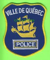 ÉCUSSON TISSU POLICE - PATCH POLICE - POLICE VILLE DE QUÉBEC, QUÉBEC, CANADA - - Patches