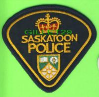 ÉCUSSON TISSU POLICE - PATCH POLICE - SASKATOON POLICE, SASKATCHEWAN, CANADA - - Ecussons Tissu