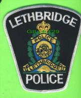 ÉCUSSON TISSU POLICE - PATCH POLICE - LETHBRIDGE POLICE, ALBERTA, CANADA - - Patches