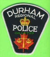 ÉCUSSON TISSU POLICE - PATCH POLICE - DURHAM REGIONAL  POLICE, ONTARIO, CANADA - - Ecussons Tissu