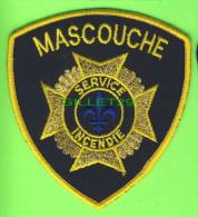 ÉCUSSON TISSU INCENDIE - FIRE PATCH -  MASCOUCHE SERVICE INCENDIE, QUÉBEC, CANADA - - Ecussons Tissu