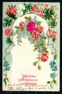 """CPA Color Prägedruck Anlaßkarte Österreich,Austria 1907""""Herzlichen Glückwunsch Zum Namenstag,Rosen,Kleeblä""""1 AK Used,bef - 1900-1949"""