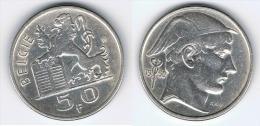 BELGICA BELGIE 50  FRANCS 1950 PLATA SILVER - 1945-1951: Régence