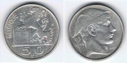 BELGICA BELGIQUE 50  FRANCS 1949 PLATA SILVER - 1945-1951: Régence