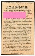 Balcaen Emile Engels Saint-Genois Moeskroen 1879 1958   Bidprentje Doodsprentje - Religion & Esotérisme