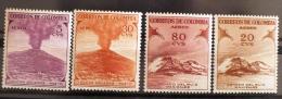 COLOMBIE VOLCANS, VOLCAN, Geologie, Yvert N° PA 238+242+243+247. Complet Volcan Hinged  * - Volcans