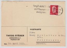 DR, 1931, Perfin, Theodor Stäber,  Dresden,    #1535 - Deutschland