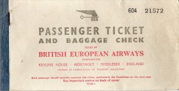 AVIATION  - TICKET  -  PASSENGER  TICKET  -  BRITISH  EUROPEAN  AIRWAYS  - 1950