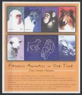 Liberia (2001) Yv. 3071/76  /  Famous Fauna - Monkey - Gorilla - Snowflake - Layka - Dogs - Lassie - Dolphin - Flipper - Briefmarken