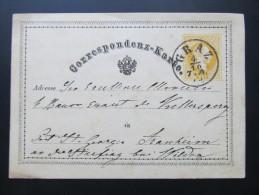 Korrespondenzkarte GANZSACHE GRAZ - ST.Georgen B.Wildon 1875 Adelskorrespondenz   ///  D*16336 - 1850-1918 Imperium