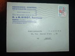 LETTRE TP COQ DE DECARIS 0,30 OBL.MEC.27-2-1967 TARTAS LANDES (40) RIBOT ROUENNERIE DRAPERIE TROUSSEAUX - Poststempel (Briefe)
