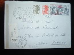 LR AR POUR MAIRIE TP PA 15,00 + TP LIBERTE DE GANDON 1,00 + 0,30 OBL.7-2-1983 AMPUIS RHONE (69) + GRIFFE LINEAIRE - Postmark Collection (Covers)