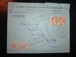 LR TP SEMEUSE 30C OBL.19-5-20 GOLBEY VOSGES (88) + GRIFFE LINEAIRE + REFUSE à GOLBEY - Marcophilie (Lettres)