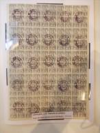 YUGOSLAVIA 1919. IMPRESIÓN DE LJUBLJANA, PLIEGO COMPLETO DE 100 SELLOS UTILIZADOS PARA PERIODICOS - Hojas Y Bloques