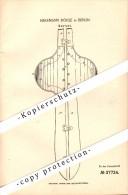 Original Patent - Hermann Böhle In Berlin , 1886 , Corset , Korsett !!! - Lingerie