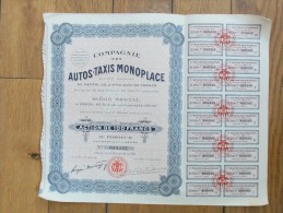 COMPAGNIE DES AUTOS TAXIS MONOPLACE Action De 100 Francs 1923 - Automobile