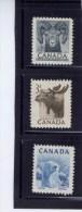 CANADA 1953, #322-3-4,  MNH, WILDLIFE: POLAR BEAR, MOOSE, BIGHORN SHEEP     MNH - 1952-.... Règne D'Elizabeth II