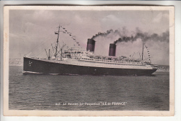 "Paquebot - "" ILE DE FRANCE ""  CPSM Photo Noir Et Blanc PF 1951 - Cruise Ship Kreuzfahrtschiff Cruiseschip Pakkeboot - Dampfer"