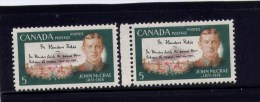 CANADA, MINT, 1968, #487-7i ,  JOHN McCREA,   Pairs   M NH. Pierre Tombale, Fleur Poppy, Militaire - 1952-.... Règne D'Elizabeth II