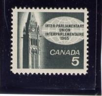 CANADA 1965, # 441, INTERPARLIAMENTARY UNION: PEACE TOWER, SINGLE M NH - 1952-.... Règne D'Elizabeth II