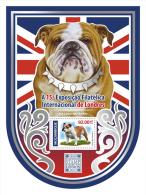 m15108b Mozambique 2015 Unusual Shape London Europhilex International Exposition s/s Bulldog Dog