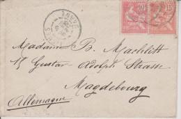 G7 France Francia Frankreich 1903 YT 124 + 125 Lettre De Tismes Pour Magdeburg - 1900-02 Mouchon