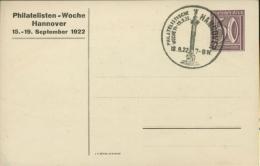 Deutsches Reich 1922 Privatganzsache Philatelisten-Woche Hannover SST (X5868) - Briefe U. Dokumente