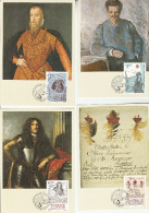 1984 SWEDEN SET Of 4 MAXIMUIM CARDS  Stockholmia HISTORIC LETTERS , ART,  ROYALTY Stamps Cover Card  Fdc - Maximum Cards & Covers