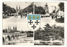 Cp, 03, Moulins, Multi-Vues, Voyagée 1957 - Moulins