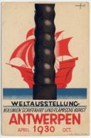 Disegno - Dessin :  MARFURT LÈO, ANTWERPEN APRIL 1930 - WELTAUSSTELLUNG - KOLONIEN, SCHIFFART UND FLÄMISCHE KUNST. - Illustrateurs & Photographes