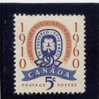 CANADA  1960,   389    MNH ,  GIRL GUIDES EMBLEM              MNH - 1952-.... Règne D'Elizabeth II