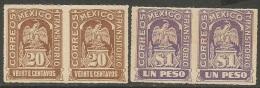 Mexico   1914   Sc#359 & 361  20c & $1 MNH** Pairs  2016 Scott Value $120++ - Mexique