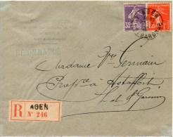 Lettre Recommandee D Agen A1,40 Fr Ppour Astaffort - 1906-38 Semeuse Camée