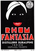 "01508 ""RHUM FANTASIA-  DISTILLERIE SUBALPINE - TORINO""  ETICHETTA ORIGINALE, ANNI ´30 - ORGINAL LABEL , YEARS´ 30. - Rhum"