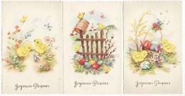 Carte Postale Joyeuses Pâques Oeufds Poussins Papillons Fleurs (3 Cartes) - Pâques