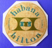 ISLAND HOTEL MOTEL PENSION HOUSE INN HABANA HILTON CUBA TAG STICKER DECAL LUGGAGE LABEL ETIQUETTE KOFFERAUFKLEBER - Hotel Labels