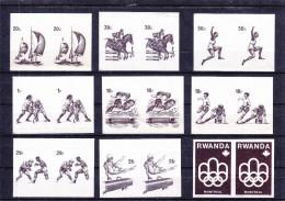 sports - Jeux Pr� Olympiques - Rwanda - COB 737 / 34 - �preuves en noir - timbres pli�s - football - hockey - rare