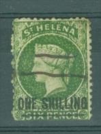 St Helena: 1864/80   QV     SG19    1/- On 6d   [Perf: 12½]     Used - Saint Helena Island